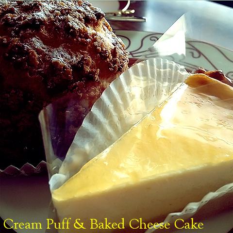 シュークリームとベークドチーズケーキ